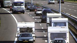 caravan op snelweg